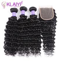 Klaiyi Hair Brazilian Deep Wave Bundles With Closure Free Part Human Dark Black 4pcs Remy Weaves