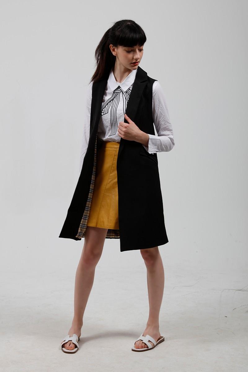 2017 wiosna nowy mody długie kieszenie turn-dół collar otwórz stitch pantone niebieski różowy beżowy czarny żakiet kamizelka bez rękawów kurtki 21
