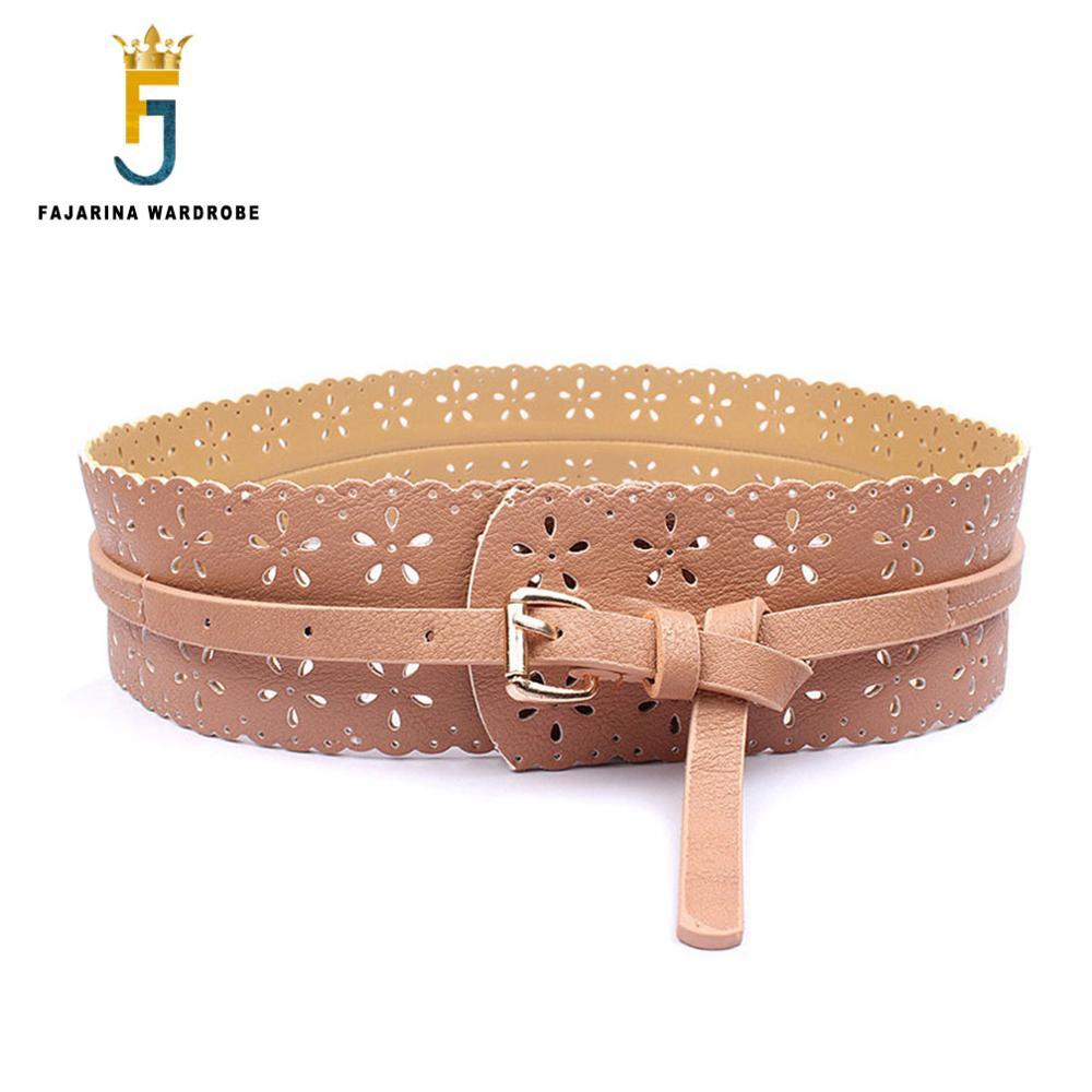 FAJARINA All-match Casual Women Decorative PU Leather Belts For Women Wide Waist Belt 6cm Width Skirt Ladies MNFAJA0081 Khaki