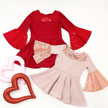 Toddler Pink Floral Lace Dress Baby Girl Sleeve Dress Princess Children Girl Birthday Party Lace Tutu Mesh Dresses Bell sleeve floral nine points sleeve hollow lace dress