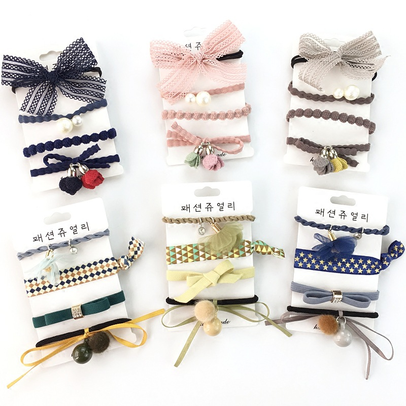 Women Scrunchy Rope Hair Accessories Elastic Rubber Bands Ring Headwear Girls Ponytail Holder Hair Tie Band 100pcs=25sets HD121