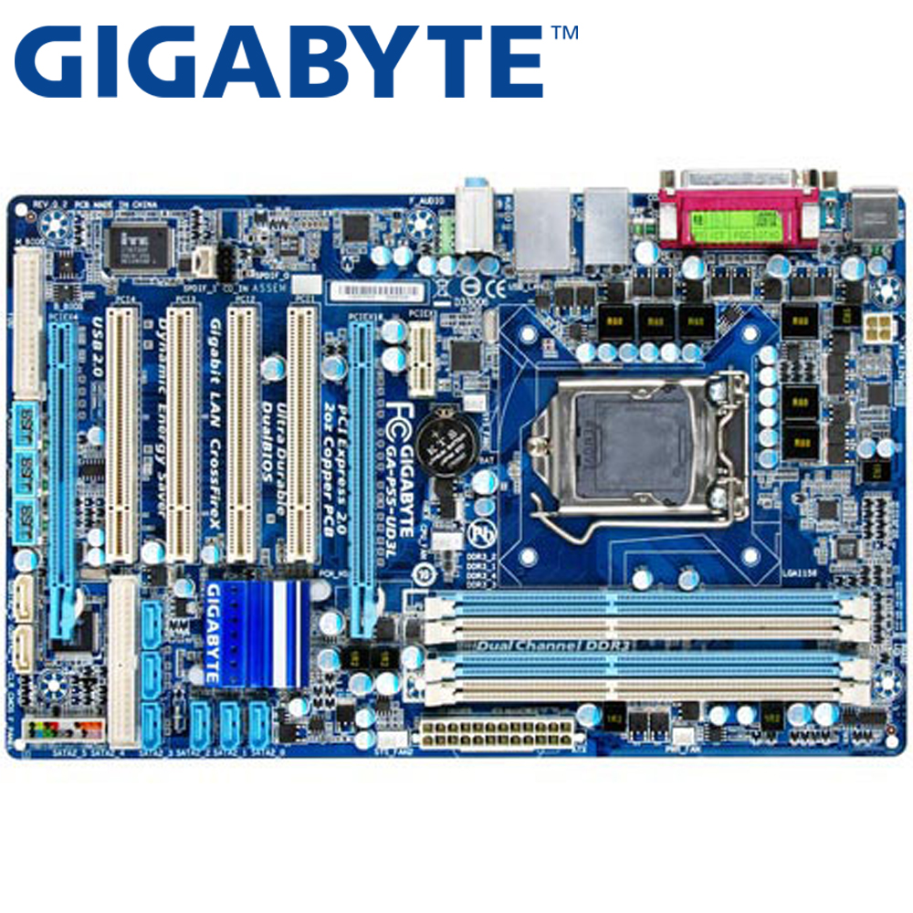 GIGABYTE GA-P55-UD3L Desktop Motherboard P55 Socket LGA 1156 i3 i5 i7 DDR3 16G ATX UEFI BIOS Original Used P55-UD3L Mainboard asus m5a78l desktop motherboard 760g 780l socket am3 am3 ddr3 16g atx uefi bios original used mainboard on sale