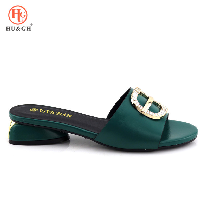 2019 Latest Green Color African Wedding Women Shoes Italy Design Elegant Women Party Shoes New Arrival Summer Slippers Shoes