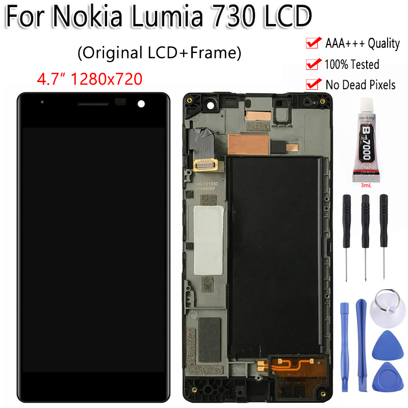 Original OLED For Nokia Lumia 730 RM 1038 LCD Display Touch Screen With Frame Digitizer Replacement Assembly 100% Tested-in Mobile Phone LCD Screens from Cellphones & Telecommunications