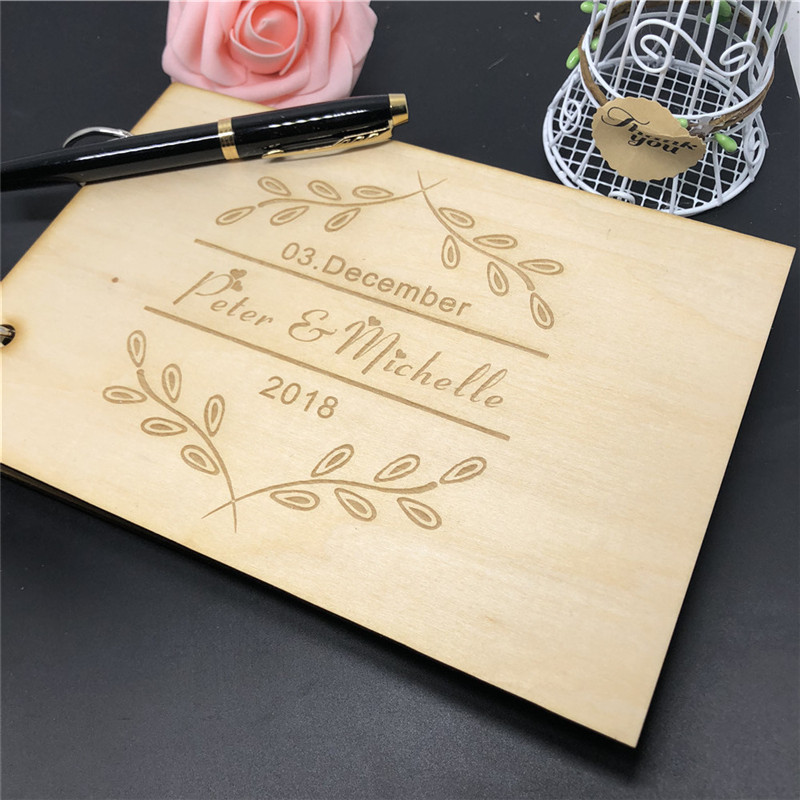 Wedding Guest Book Ideas Diy: Custom Wooden Rustic Wedding Guest Book Personalized