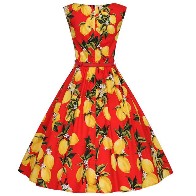 XS-4XL Cotton Lemon Printing Swing 1950s Dress 2018 New Fashion Midi Length  Vintage Tutu 2d04e7f052fd
