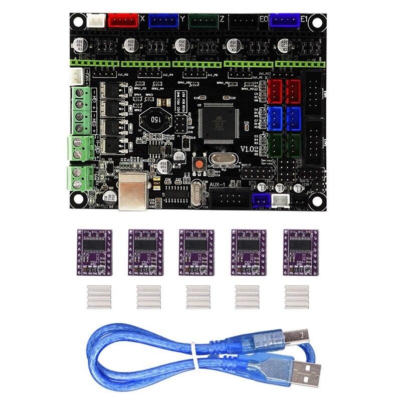 1 St V1.0 Geïntegreerde Controller Moederbord Met 5 Stks Drv8825 Stappenmotor Driver Compatibel Ramps1.4/mega2560 R3 Voor 3d Printer Vloeiende Circulatie En Pijn Stoppen