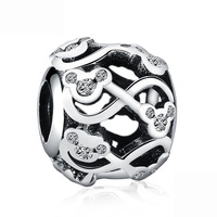 100 Authentic 925 Sterling Silver Mickey Shape Charm Beads Fit Original Pandora Charm Bracelet DIY Silver