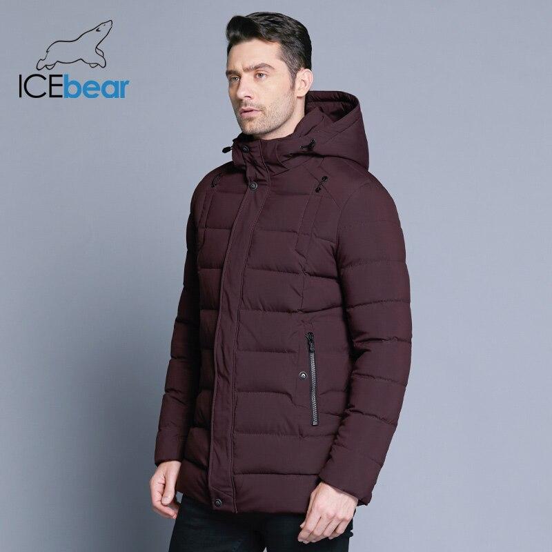 ICEbear 2018 dei nuovi uomini di rivestimento caldo di inverno staccabile cappello maschile breve cappotto di moda casual abbigliamento uomo abbigliamento di marca MWD18813D-in Parka da Abbigliamento da uomo su  Gruppo 3