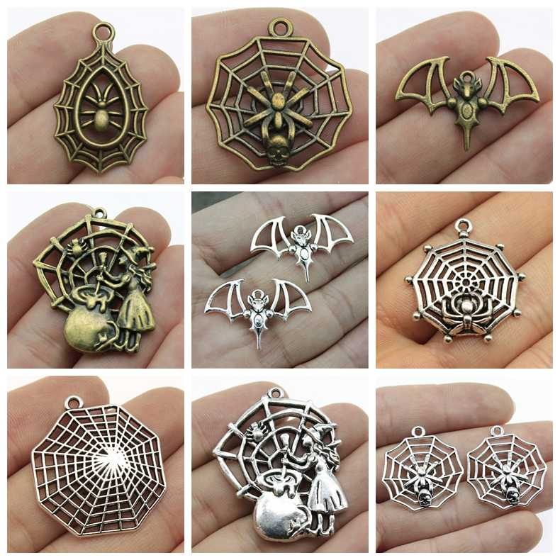 Mix Halloween Spider Web Charms Halloween Bat Wings For Jewelry Making Diy Craft Supplies Metal Detector Diy Accessories