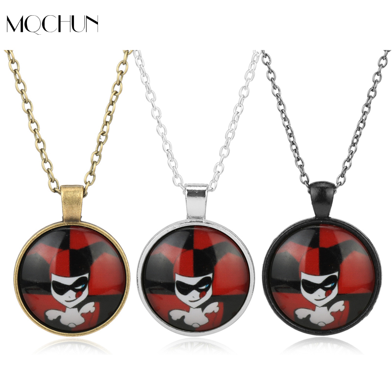 DC Comics Marvel Necklace Movie Suicide Squad Harley Quinn Pendant Neck Chain Girl Anime Jewelry Cartoon Necklaces For Teenagers