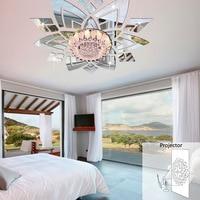# Un Creativo estéreo 3D espejo pegatinas decoración de dormitorio de techo flor pegatinas de pared adhesivos decorativos espejo