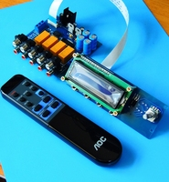 Assembled HIFI remote control volume control preamp board 4 ways input + display