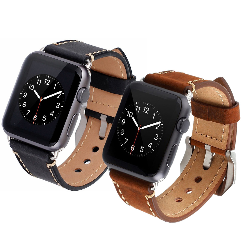 Strap for apple watch band 42mm/38mm Leather watchband bracelet wrist belt for iwatch series 3/2/1 metal buckle Black Brown istrap black brown red france genuine calf leather single tour bracelet watch strap for iwatch apple watch band 38mm 42mm