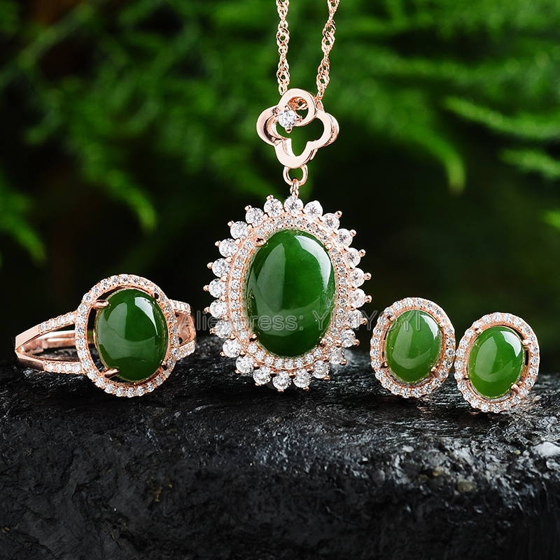 Beautiful 925 Silver Natural Green HeTian Jade Round Beads Inlay Lucky Pendant Neckl ace Earring Ring