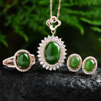Beautiful 925 Silver Natural Green HeTian Jade Round Beads Inlay Lucky Pendant Neckl;ace Earring Ring Woman's Fine Jewelry Set - DISCOUNT ITEM  9% OFF All Category