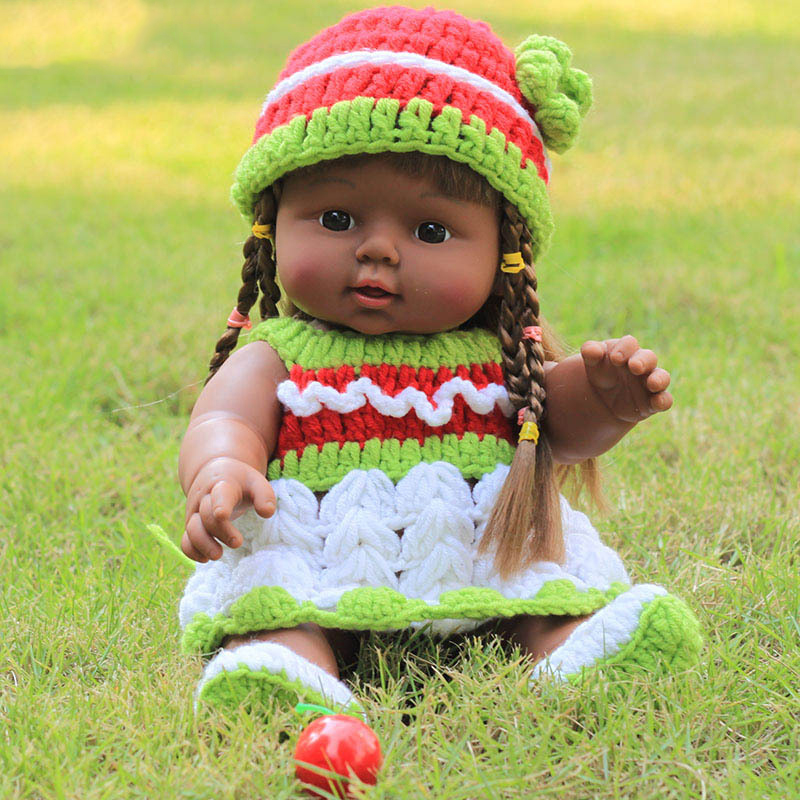 30CM African Black Reborn Vinyl  Baby Dolls Green Straight Pigtail - Dolls and Stuffed Toys