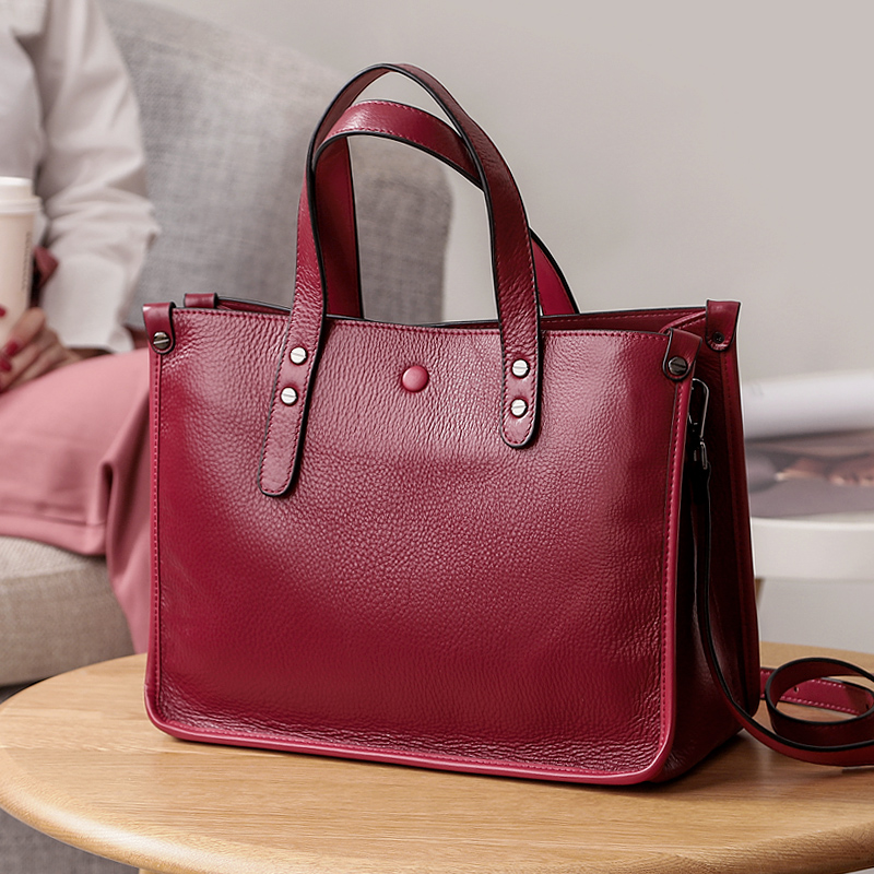 Women Fashion Tote Bag Genuine Calf Leather Large Shopper Top Handle Bag WB670