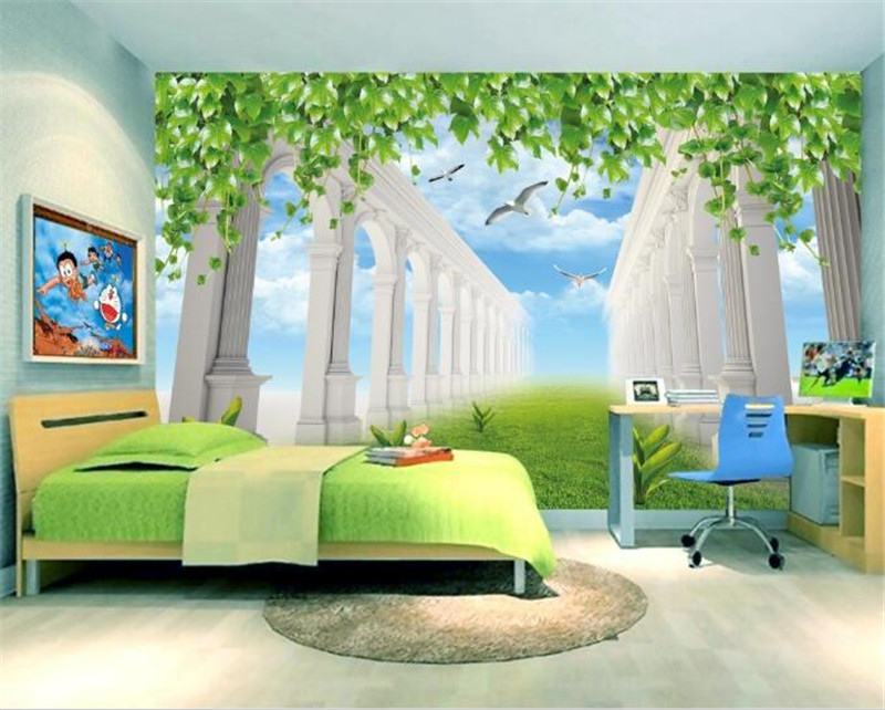 custom modern 3D photo mural non-woven wallpaper children's room green space landscape painting 3D TV background wall home decor custom 3d mural wallpaper street art graffiti cartoon hand painted brick wall background decor wall painting non woven wallpaper