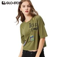 GLO STORY 2017 Women S T Shirt Leisure Woman Pattern 100 Cotton Fashion T Shirt WPO