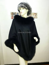 /Lady's Genuine  Real Cashmere Genuine Crystal Fox Fur Coat Cloak Poncho/shawl//cape Wraps/ black