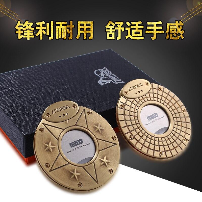 Lubinski Badge Style Gadget doré classique Antique coupe-cigare avec emballage en cuir/boîte