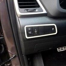 For Hyundai Tucson 2016 2017 Interior Matte Chrome Car Front Headlight Control Button Switch Cover Molding Trim Accessories