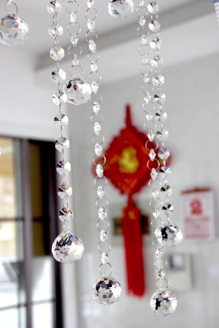20 metrów 30mm szkło kryształowe ośmiokątne koraliki łańcuchy kryształ szklana wisząca kryształ nici na dekoracje ślubne w Figurki i miniatury od Dom i ogród na  Grupa 3
