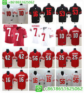 d6f83272b5f Men San Francisco Jimmy Garoppolo Joe Montana Reuben Foster DeForest  Buckner Jerry Rice Colin Kaepernick color rush jerseys
