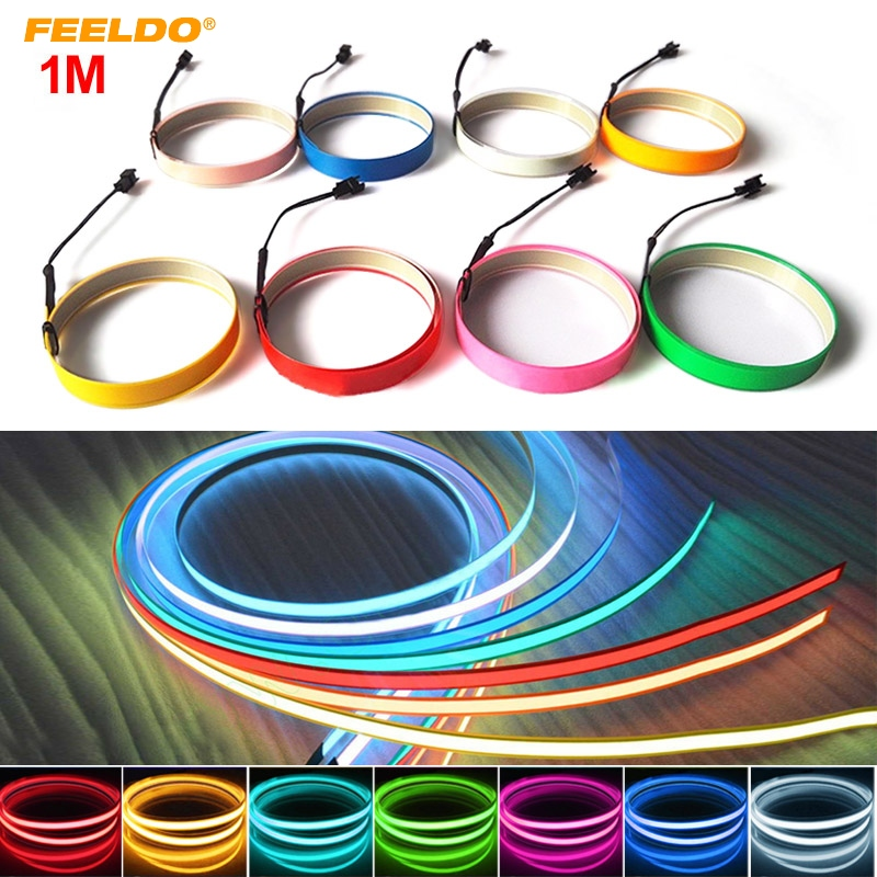 FEELDO 1PC  10 Colors 100CM*14MM 1m Electroluminescent Tape EL Wire Cold Light Strip Car Ambient Light DC 12V #AM4468