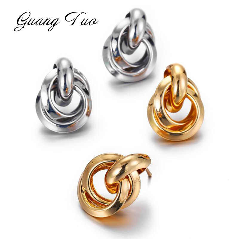 ES338 Minimalist Gold Silver Color Love Knot Earrings for Women Classic Twisted Stud Earrings Tie the Knot Wedding Jewelry Gift