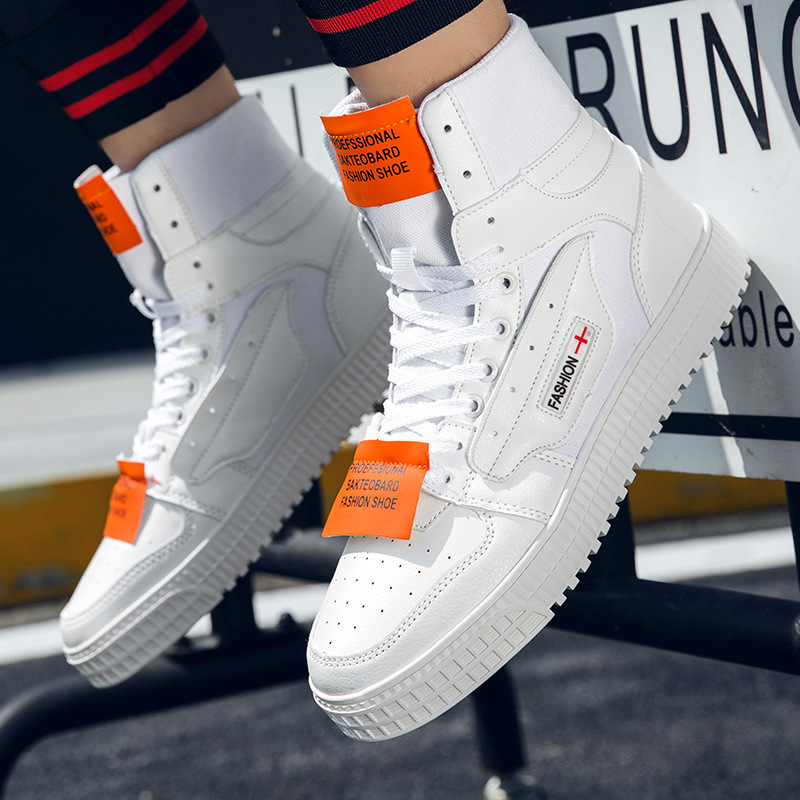 New High-top Sneakers Men's Korean Version Of Heightened Sneakers British Style White Sneakers Student Leisure Trend Men's Shoes