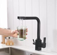 Оптовая продажа Новые осмоса 100% Медь Поворотный квадратный Стиль мойки питьевой воды смеситель для кухни 3 Way фильтр для воды коснитесь