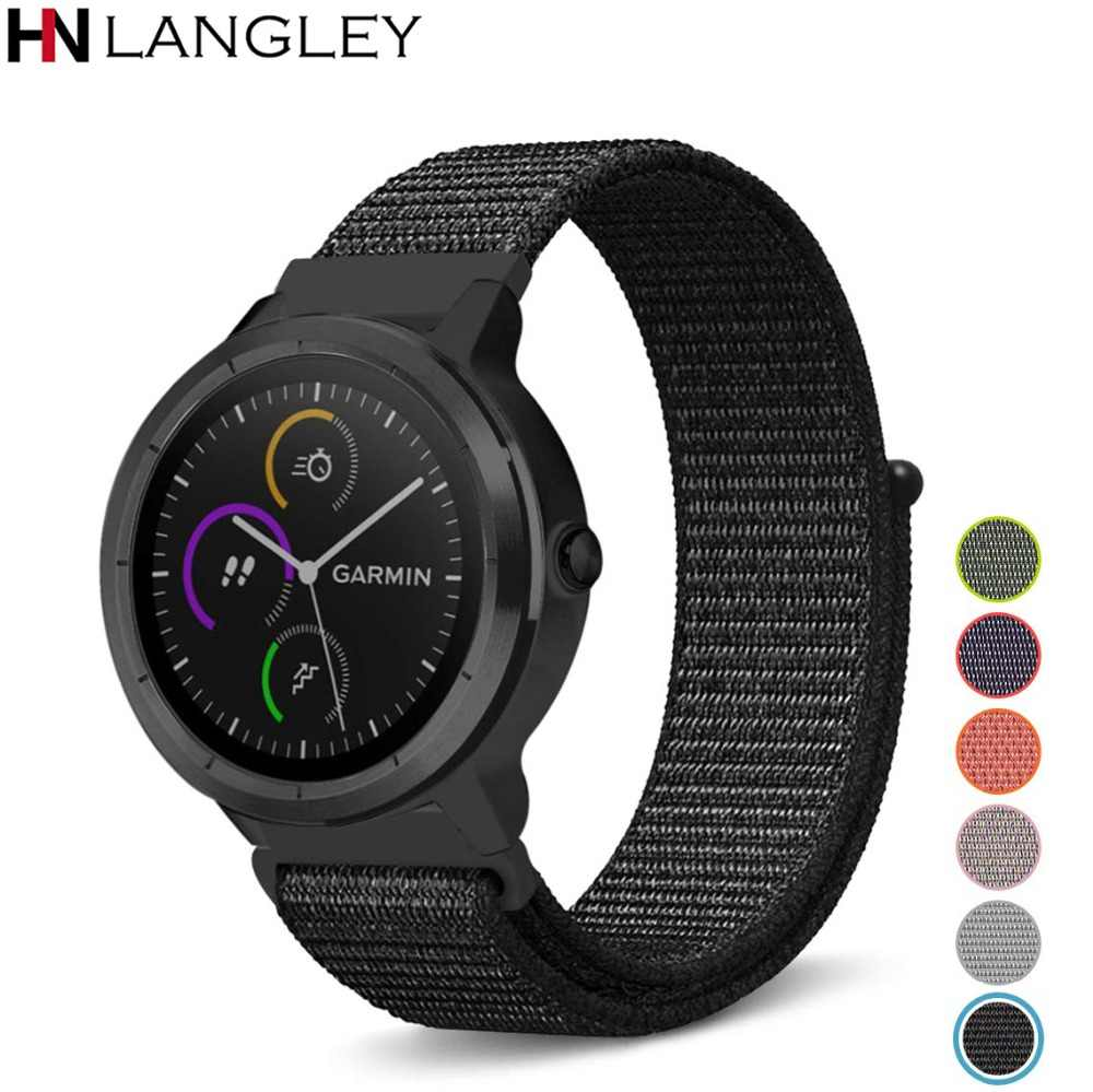 20mm Nylon Sport Loop Band for Garmin Vivoactive 3 Watch Fastener Adjustable Closure for Forerunner 645 Music Smart Watch Strap