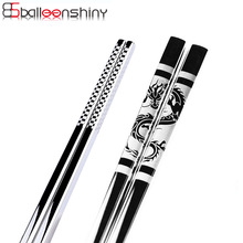 BalleenShiny Stainless Steel Antiskid Dragon Sumpit Sushi Hashi Metal Besi Portable Chinese Healthy Food stick Tableware