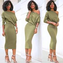arrival Women's Casual Long Sleeve Off Shoulder Pencil Dress Bandage Bodycon Evening Party Dress Solid Black Green(China)