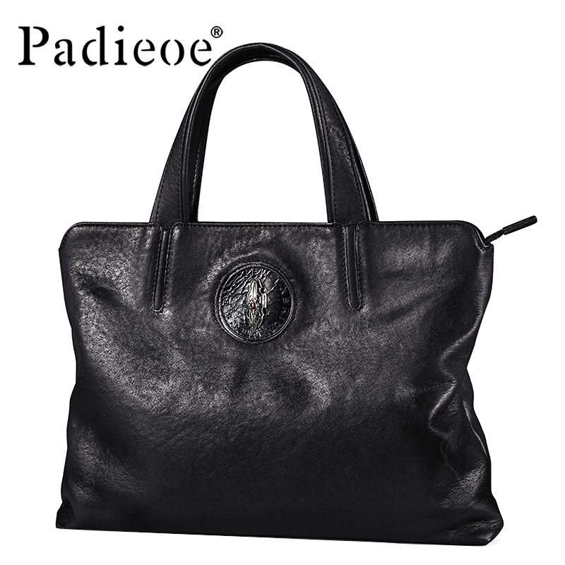 Padieoe Men Bag Briefcase Leather Computer Bag Messenger Handbag Purses Jobs Genuine Leather