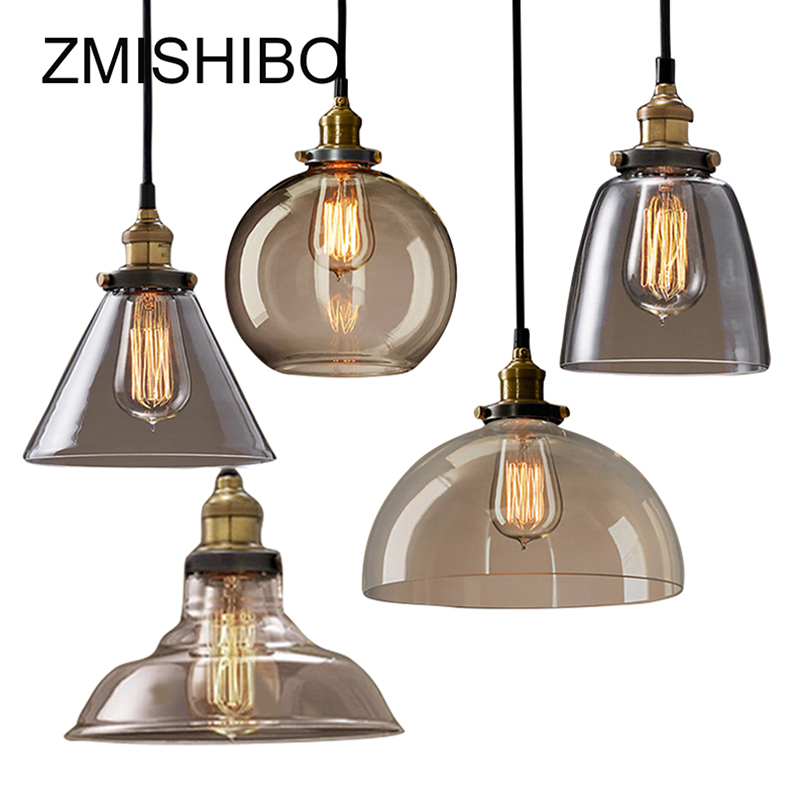 ZMISHIBO Vintage Glass Pendant Lamp 110-240V E27 Ceiling Clear Amber Glass Lights Nordic Hanging Lamp kitchen Fixture Luminaire square corners hanging antique copper 2 candelabra sockets clear glass