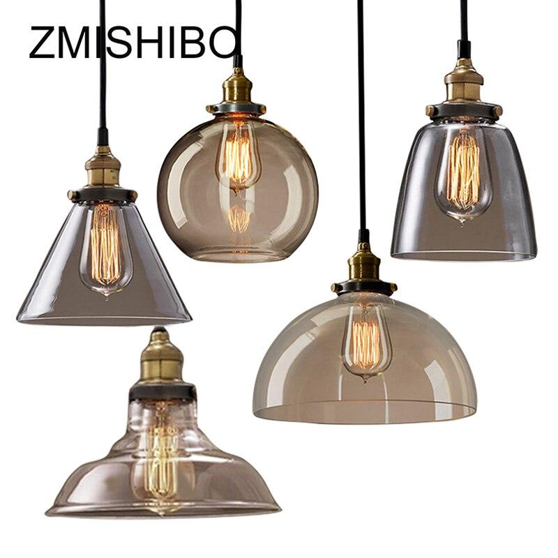 ZMISHIBO Vintage Pendentif En Verre Lampe 110-240 v E27 Plafond Clair Ambre En Verre Lumières Nordique Lampe Suspendue cuisine Luminaire luminaire
