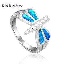 Новинка! Стрекоза Дизайн элегантный синий огненный опал штампованные Серебряные кольца для женщин Модные украшения США Размер#6#7#8#9 OR743