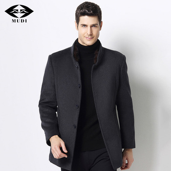 MUDI Wool Blends Men Coats Down Liner Detachable With 50% Wool Overcoat Mid-long Warm Male Jacket Slim Top Quality Coat Oversize