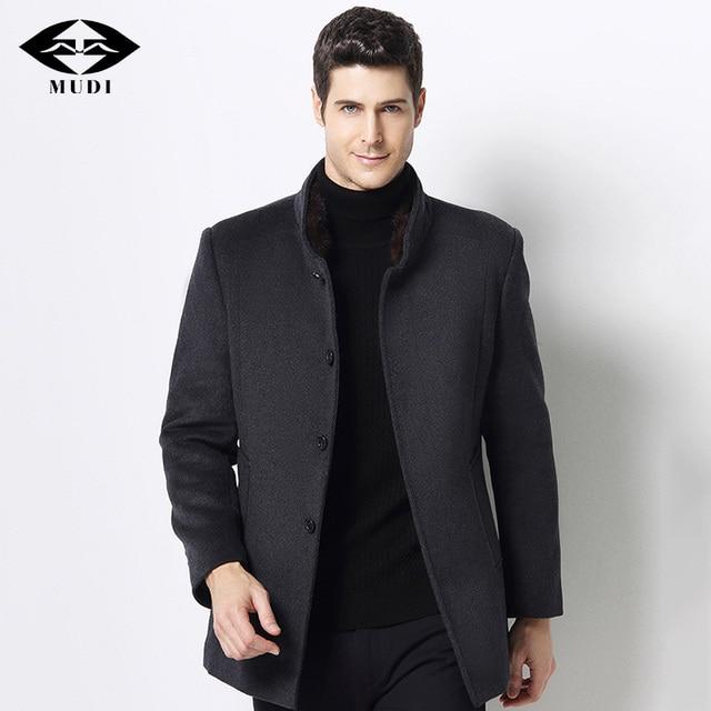 MUDI Wool Blends Men Coats Down Liner Detachable With 50% Wool Overcoat Mid-long Warm Male Jacket Slim Top Quality Coat Oversize