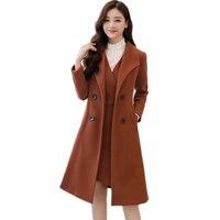 Winter Autumn women's Woolen fake suit 2018 New women's Autumn fashion trendy Woolen dress+woolen coat fake two piece suit