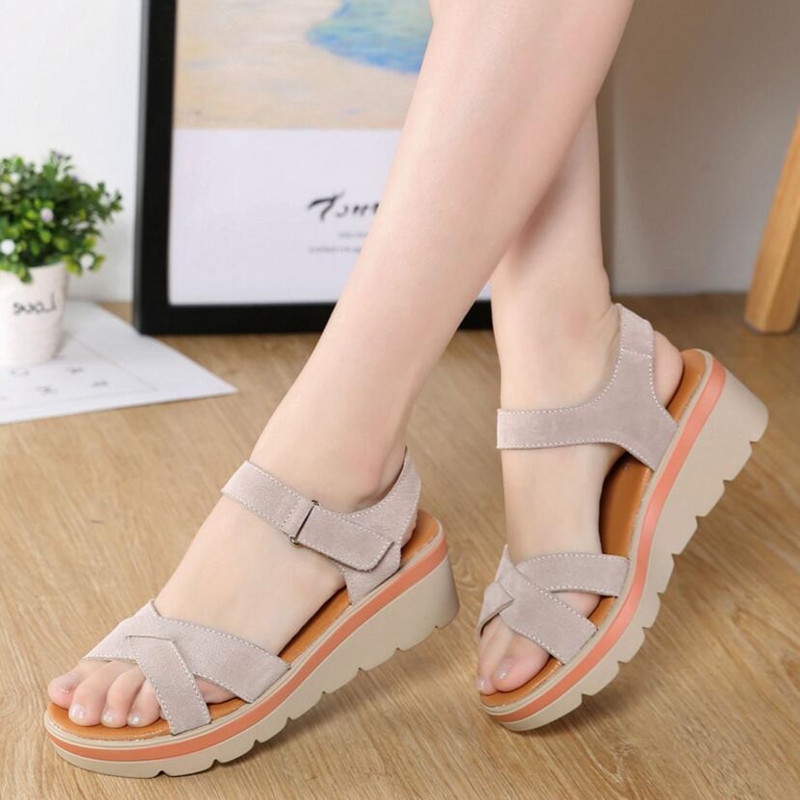 Leather Sandals Summer New Ladies Sandals Women's Shoes Fashion Wild Student Sandals 2019 New Women's Shoes Slippers Footwear(China)