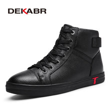 Dekabr Lederen Mannen Waterdichte Laarzen Mannen Casual Schoenen Fashion Enkel Laarzen Voor Mannen Hoge Top Winter Laarzen Maat 38 ~ 48(China)