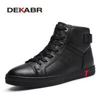 DEKABR Genuine Leather Men Waterproof Boots Men Casual Shoes Fashion Ankle Boots For Men High Top Winter Men Boots Size 38~48