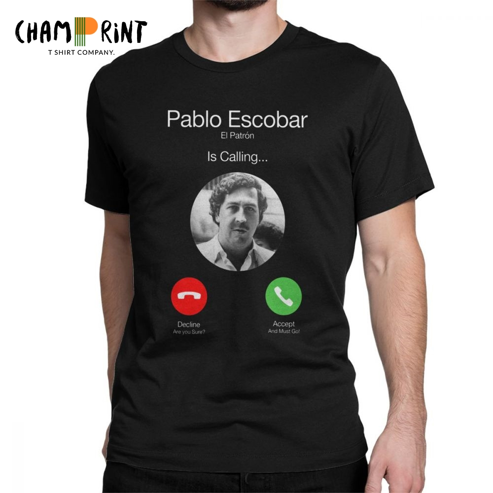 Pablo Escobar Calling Men's   T     Shirts   El Patron Funny Telephone Funny Tops Cotton Short Sleeve O Neck   T  -  Shirts   Summer Tees