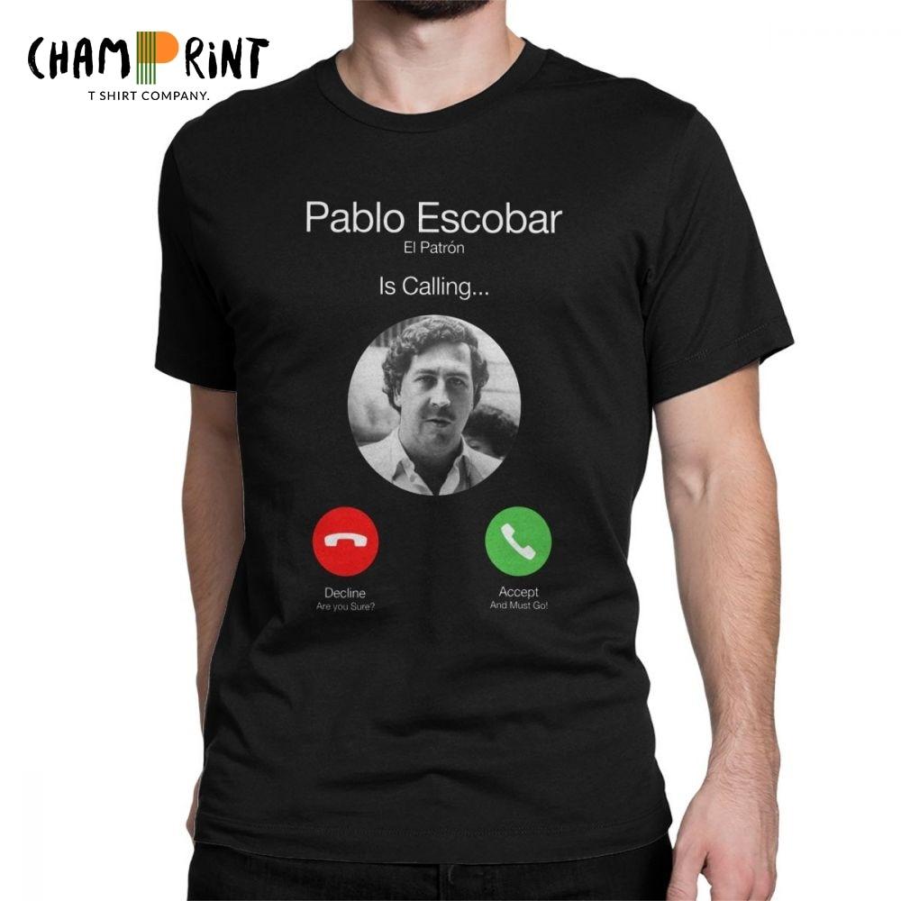 Pablo Escobar Camisas dos homens T El Patron Chamando Telefone Engraçado Engraçado Tops Algodão de Manga Curta O Neck Camisetas de Verão tees