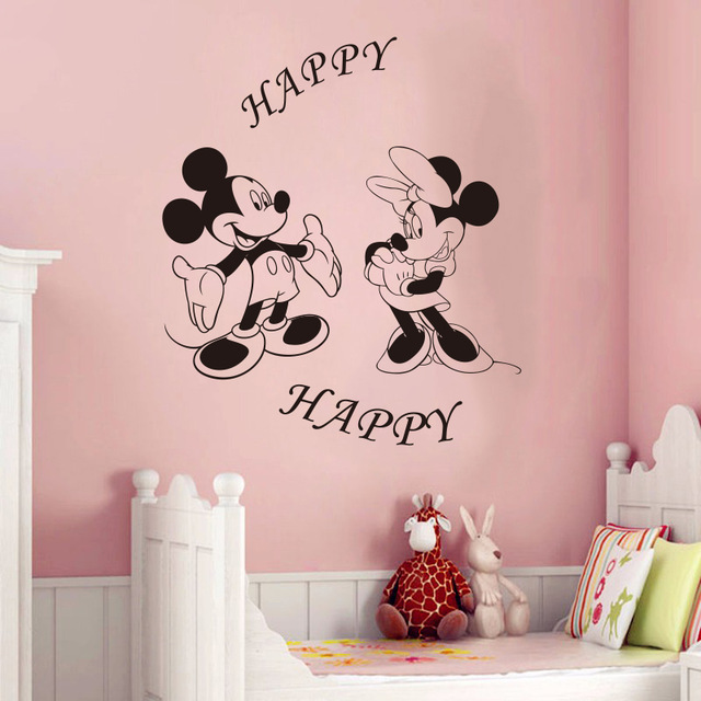 Creative DIY bedroom cute Mickey Mouse & Minnie wall stickers for kids rooms Mickey home decoration removable wall stickers