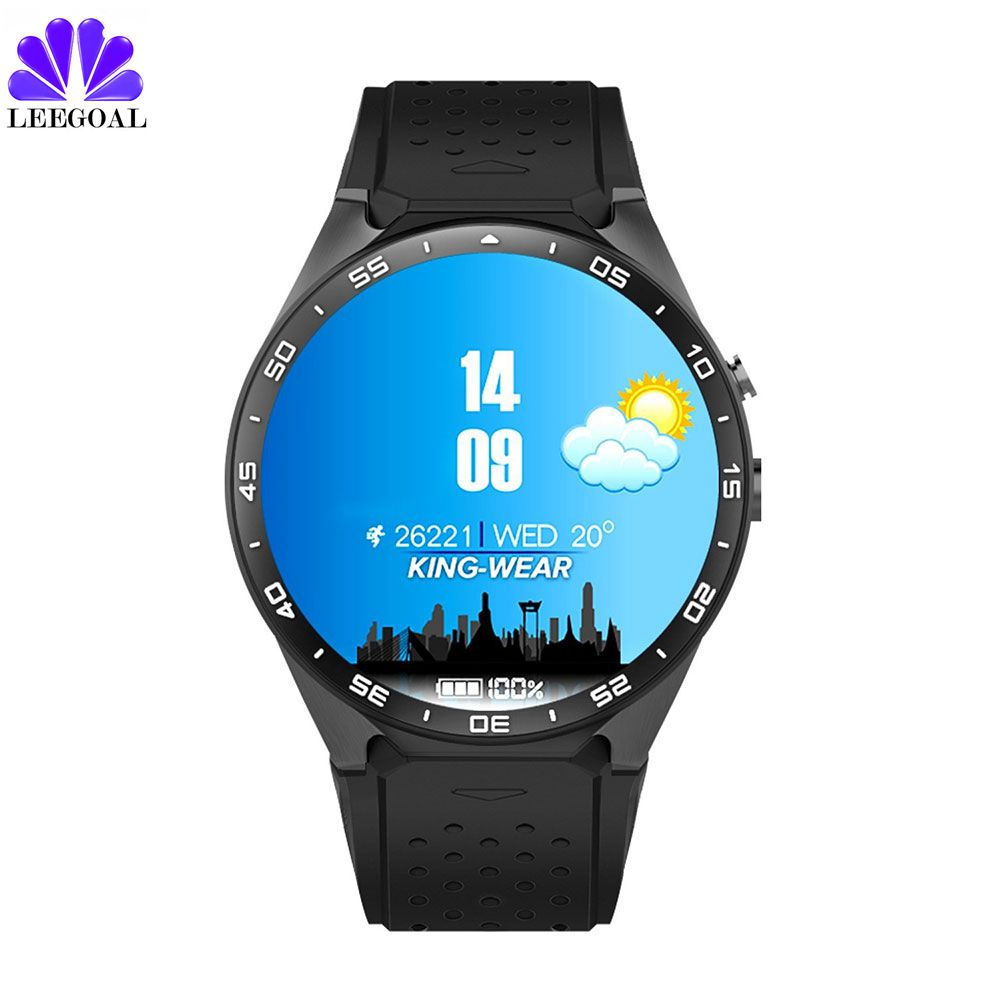 D'origine kingwear KW88 Montre Smart Watch Android 5.1 Smartwatch kw88 MTK6580 quad core 3g Bluetooth GPS Moniteur de Fréquence Cardiaque téléphone